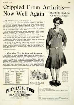 Physical Culture Hotel Aug 1932 ad Crippled - now well