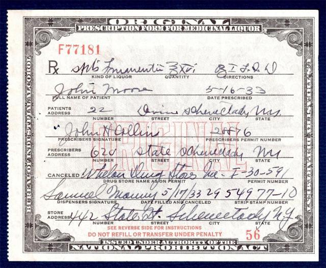 Alchohol Prescription 1933