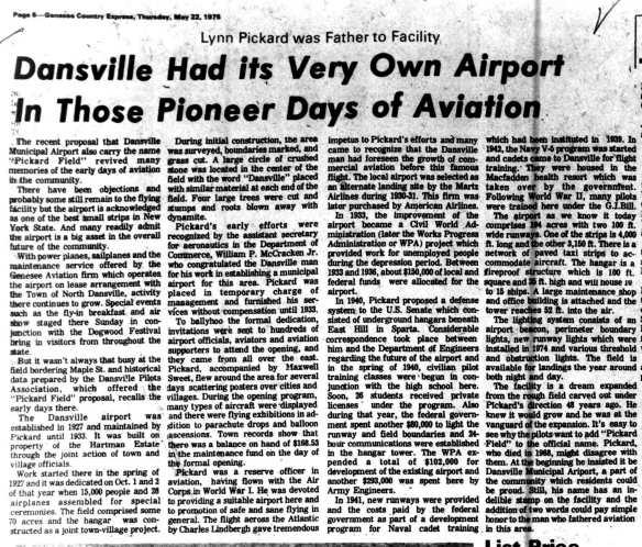 Dansville had its very own airport in those early pioneer days of Aviation