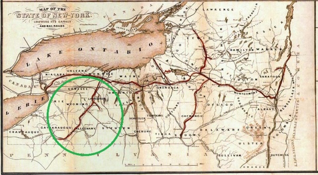 Map of New York State canals with Genessee Valley Canal (1840-1880)  in green