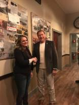 Mike Palmesano congratulates Marissa Siciliano on the brewery's success